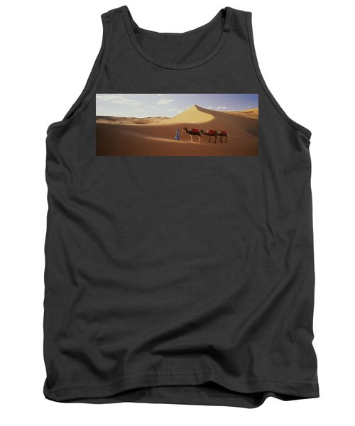 Camels In Desert Morocco Africa Tank Top