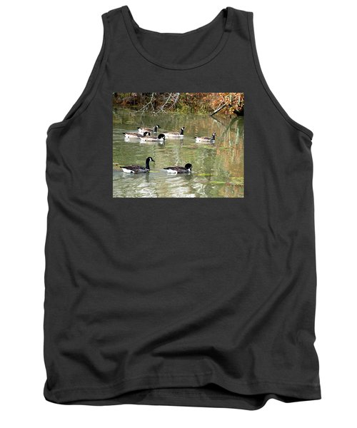 Canadian Geese Swimming In Backwaters Tank Top by William Tanneberger
