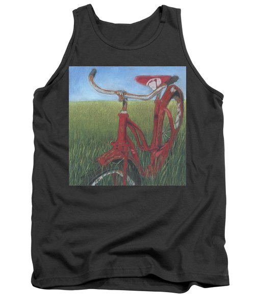 Tank Top featuring the drawing Carole's Bike by Arlene Crafton