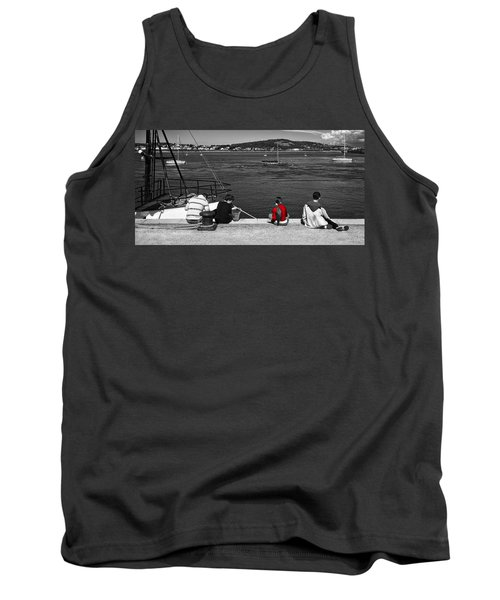 Tank Top featuring the photograph Catching Crabs In Red by Meirion Matthias
