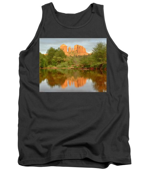 Tank Top featuring the photograph Cathedral Rocks Reflection by Alan Vance Ley