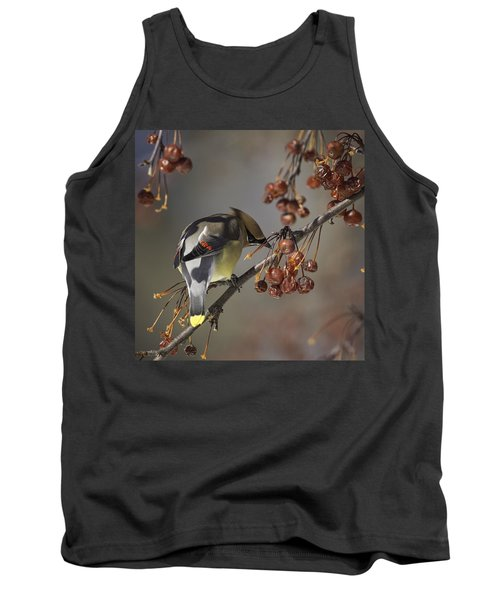 Cedar Waxwing Eating Berries 7 Tank Top