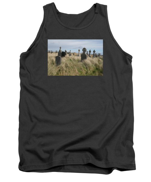 Tank Top featuring the photograph Celtic Crosses Aran Island Cemetary by Melinda Saminski