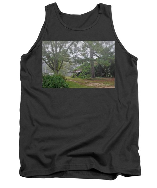 Tank Top featuring the photograph Century-old Shed In The Fog - South Carolina by David Perry Lawrence