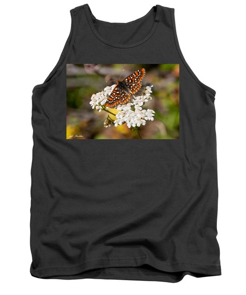 Tank Top featuring the photograph Checkerspot Butterfly On A Yarrow Blossom by Jeff Goulden
