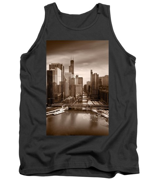 Chicago City View Afternoon B And W Tank Top