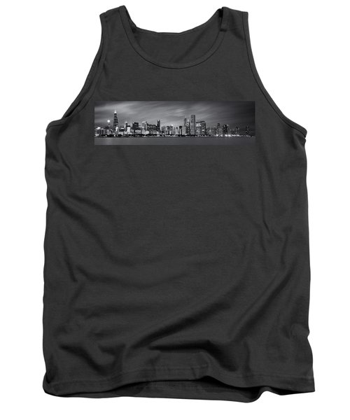 Chicago Skyline At Night Black And White Panoramic Tank Top