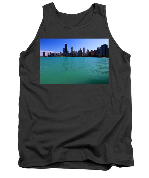 Chicago Skyline Teal Water Tank Top