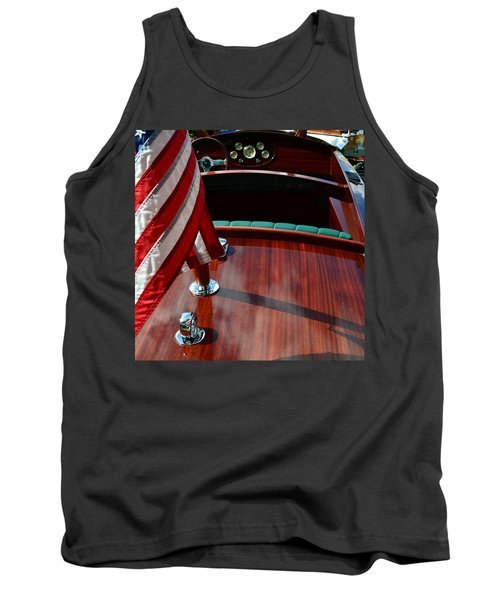 Chris Craft With Flag And Steering Wheel Tank Top by Michelle Calkins