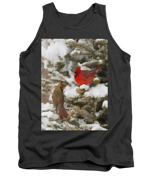 Christmas Card With Cardinals Tank Top