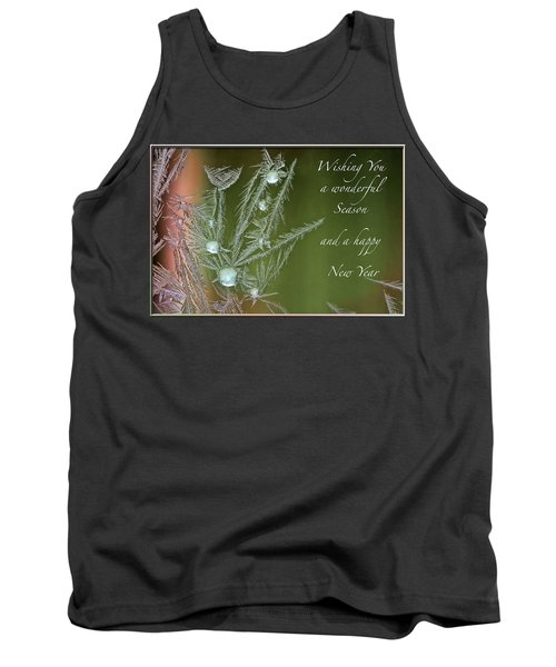 Tank Top featuring the mixed media Christmas Greeting Card Ice Flowers by Peter v Quenter
