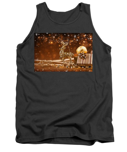 Christmas Reindeer In Gold Tank Top by Doc Braham