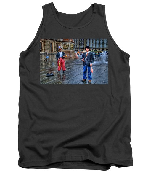 Tank Top featuring the photograph City Jugglers by Ron Shoshani