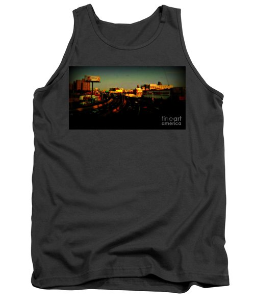 Tank Top featuring the photograph City Of Gold - New York City Sunset With Water Towers by Miriam Danar