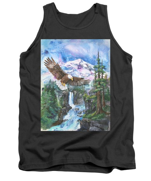 Tank Top featuring the painting Cleared For Landing Mount Baker by Sherry Shipley
