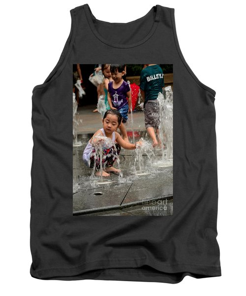 Clothed Children Play At Water Fountain Tank Top by Imran Ahmed