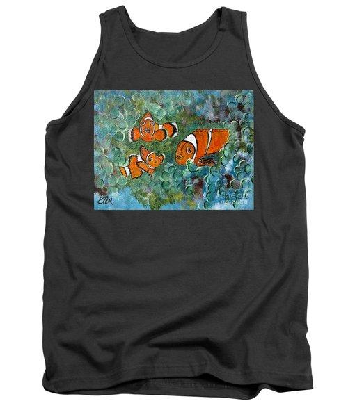 Clown Fish Art Original Tropical Painting Tank Top