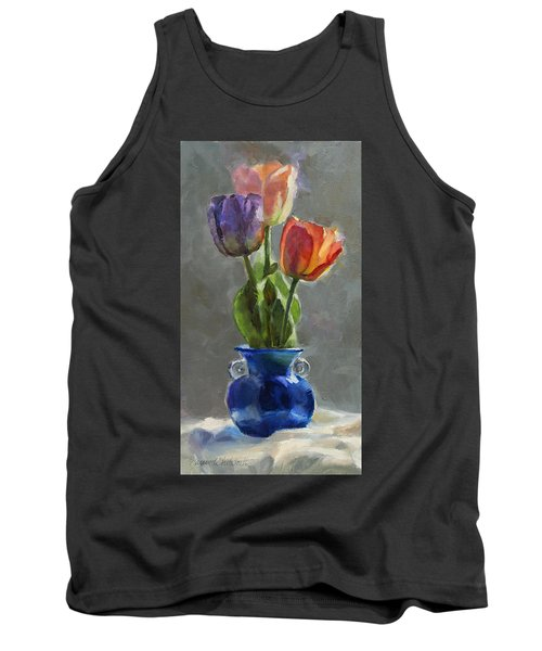 Cobalt And Tulips Still Life Painting Tank Top