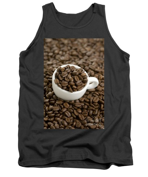 Tank Top featuring the photograph Coffe Beans And Coffee Cup by Lee Avison