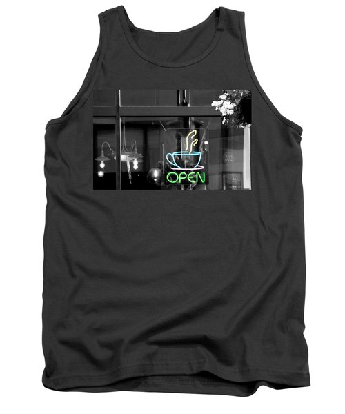 Coffeehouse Open Neon Sign Tank Top