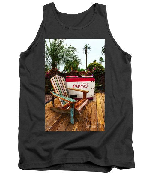 Vintage Coke Machine With Adirondack Chair Tank Top by Jerry Cowart
