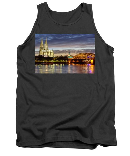 Cologne Cathedral With Rhine Riverside Tank Top by Heiko Koehrer-Wagner