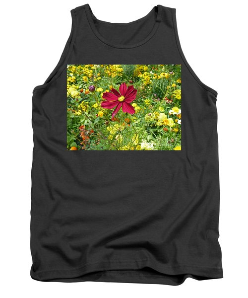 Colorful Flower Meadow With Great Red Blossom Tank Top