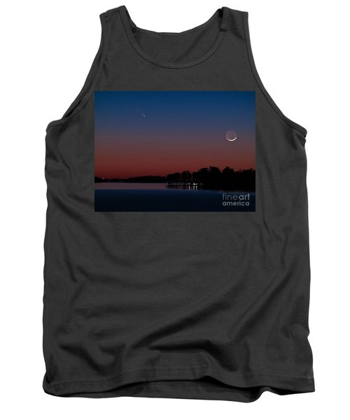 Comet Panstarrs And Crescent Moon Tank Top by Charles Hite
