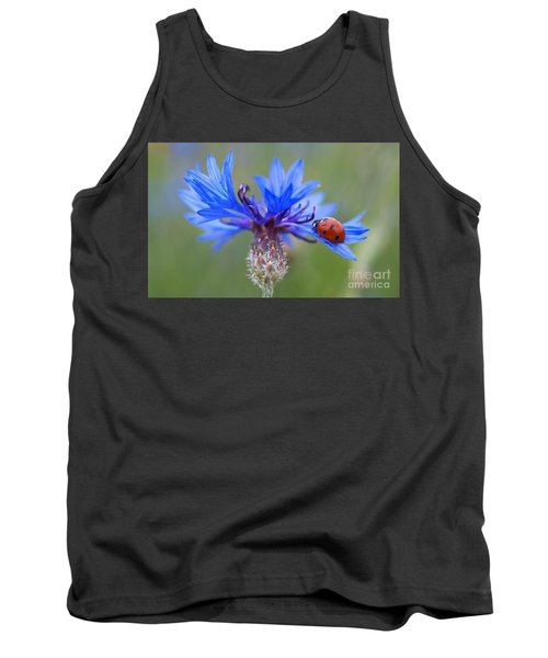 Tank Top featuring the photograph Cornflower Ladybug Siebenpunkt Blue Red Flower by Paul Fearn