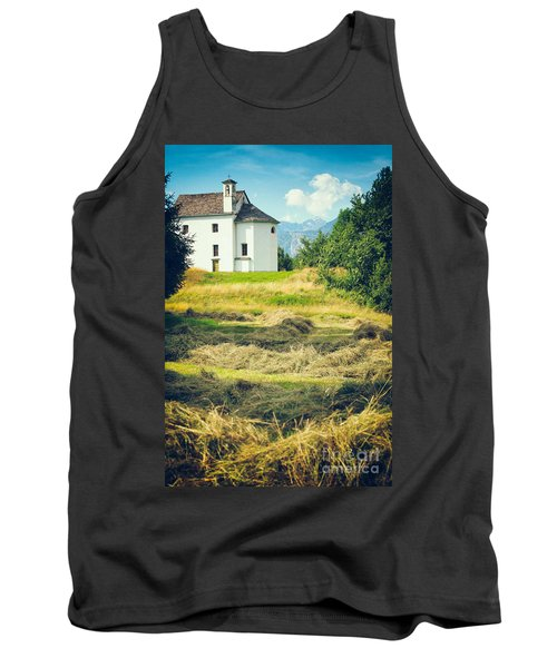 Tank Top featuring the photograph Country Church With Hay by Silvia Ganora