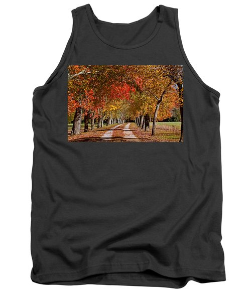 Tank Top featuring the photograph Country Lane In Autumn by Jerry Gammon