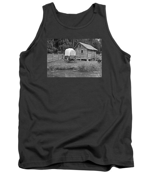 Covered Wagon Near Log Cabin Black And White Tank Top