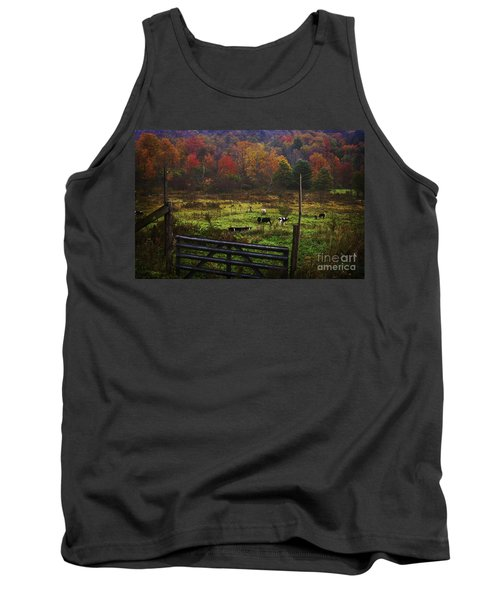 Tank Top featuring the photograph Cow Pasture In Autumn by Debra Fedchin