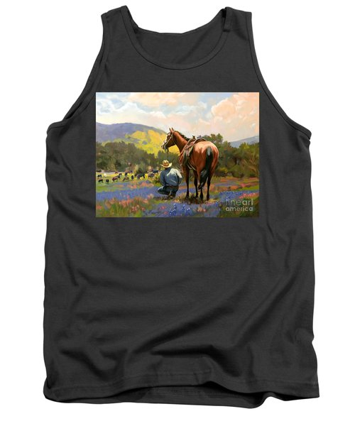 Cowboy And His Cows Tank Top