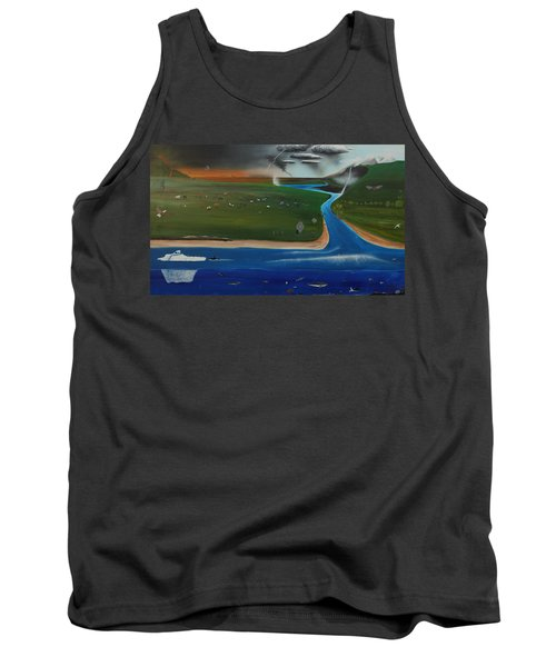 Tank Top featuring the painting Creation And Evolution - Painting 1 Of 2 by Tim Mullaney