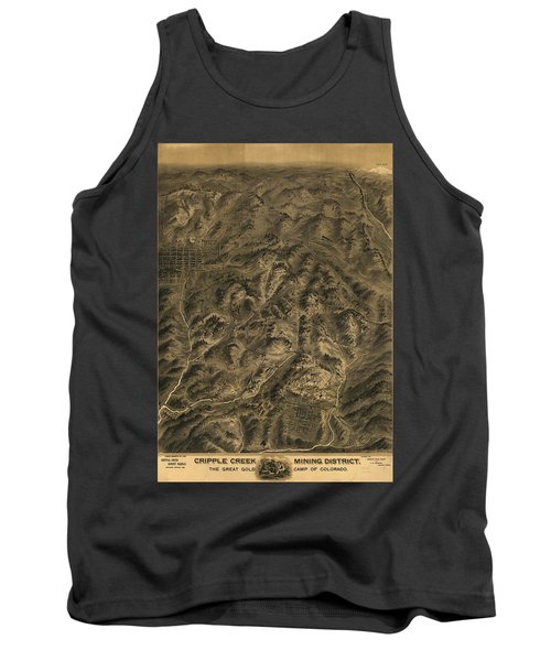 Antique Map - Cripple Creek Mining District Birdseye Map - 1895 Tank Top