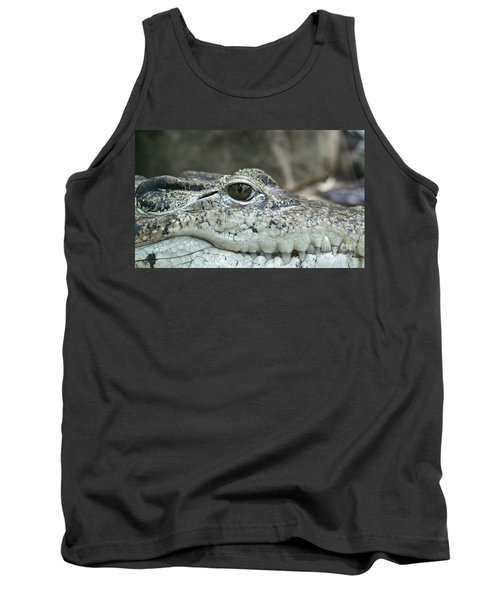 Tank Top featuring the photograph Crocodile Animal Eye Alligator Reptile Hunter by Paul Fearn
