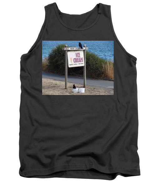 Tank Top featuring the photograph Crow In The Bucket by Cheryl Hoyle
