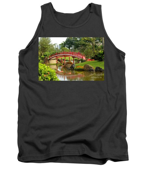 Curved Red Japanese Bridge And Stream Chinese Gardens Singapore Tank Top