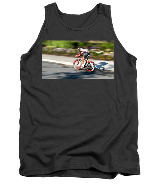 Tank Top featuring the photograph Cyclist Racing The Clock by Kevin Desrosiers