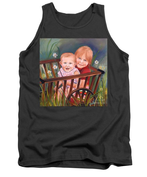 Tank Top featuring the painting Daisy - Portrait - Girls In Wagon by Jan Dappen