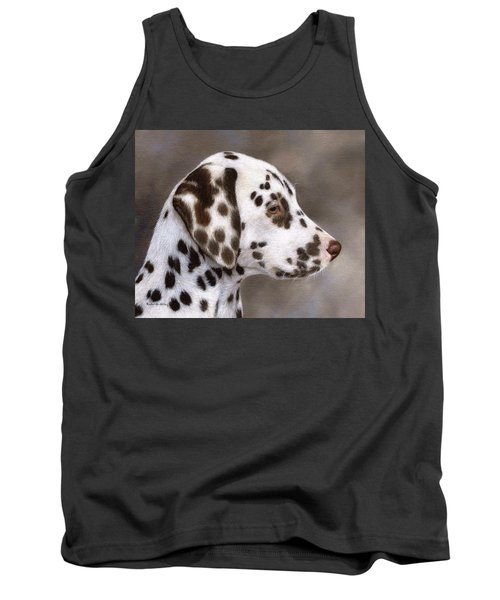 Dalmatian Puppy Painting Tank Top by Rachel Stribbling