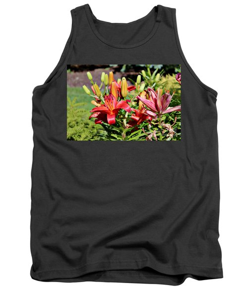 Day Lillies In The Garden Tank Top
