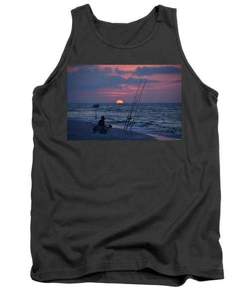 Tank Top featuring the photograph Daybreak On Navarre Beach With Deng The Fisherman by Jeff at JSJ Photography
