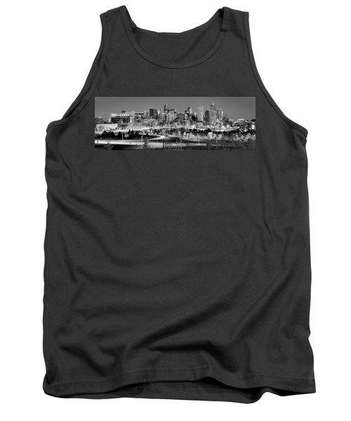 Tank Top featuring the photograph Denver Skyline At Dusk Evening Bw Black And White Evening Panorama Broncos Colorado  by Jon Holiday