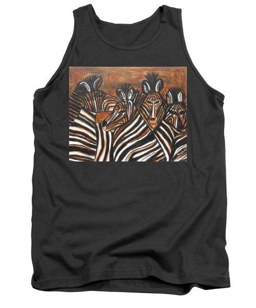 Zebra Bar Crowd Tank Top by Diane Pape