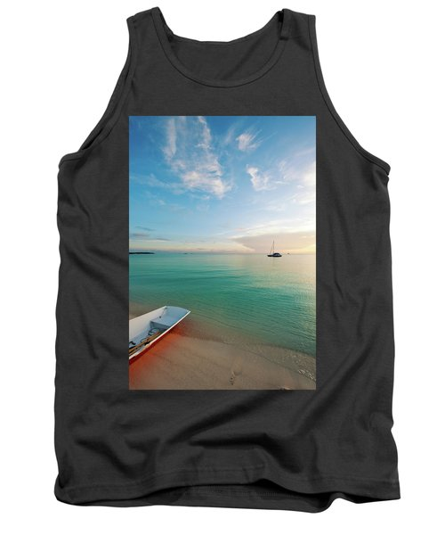 Dinghy Boat On Beach At Sunset, Great Tank Top