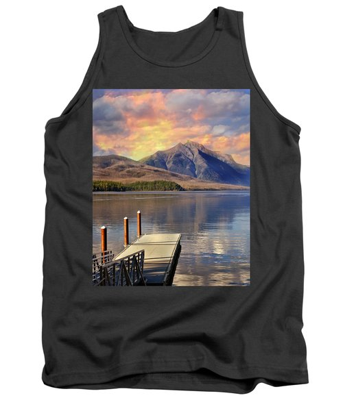 Tank Top featuring the photograph Dock On Lake Mcdonald by Marty Koch