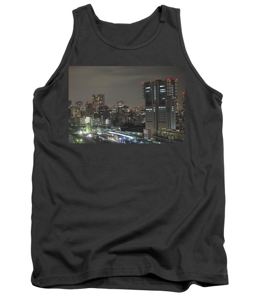 Docomo Tower Over Shinagawa Station And Tokyo Skyline At Night Tank Top by Jeff at JSJ Photography