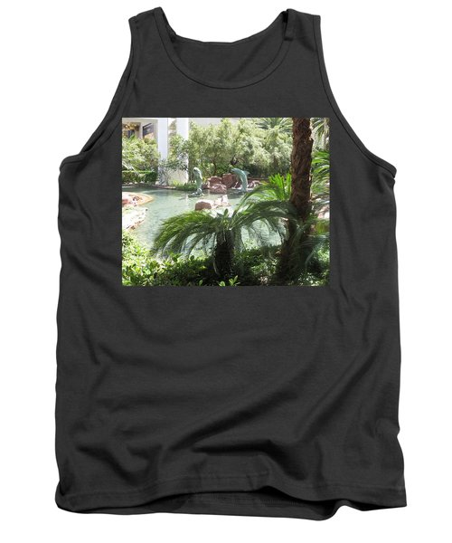 Tank Top featuring the photograph Dolphin Pond And Garden Green by Navin Joshi